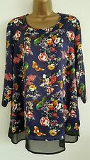 NEW Plus Size 12-26 Bird & Butterfly Floral Print Chiffon Hem Top Blouse Blue