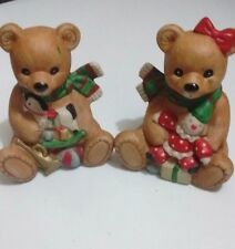 HOMCO Porcelain Christmas Boy & Girl Teddy Bear Set Collectible Figurines # 5251