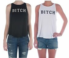 NEW WILDFOX COUTURE BITCH CASSIDY BOHO CROPPED TANK TOP SHIRT TEE BLACK WHITE