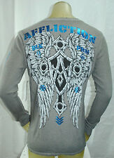 NWT AFFLICTION MEN LS 'RECOURSE' biker wing cross thermal CREW NECK tee SIZES: M