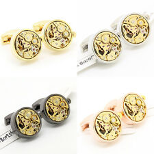 Gold Round Steampunk Watch Movement Gear Cuff Links Cufflinks for Wedding Groom