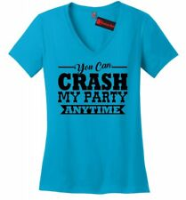 Crash My Party Anytime Ladies V Neck T Shirt Luke Country Song Music Concert Z5