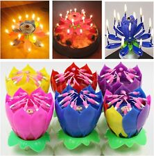 4x Lotus Music Candle Rotating Blossom Flower Candle For Birthday weddings Party