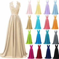 Long Lace Chiffon Bridesmaid Dresses Evening Party Formal Ball Gowns Sexy V Neck