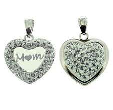 9CT White Gold Plated CZ Set MUM MOM Heart Pendant With Chain Option In Gift Box