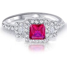 White Gold Princess Cut Promise Engagement Wedding Ruby Red w Clear CZ Ring