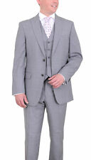 Tommy Hilfiger Trim Fit Light Gray Pinstriped Two Piece Worsted Wool Suit