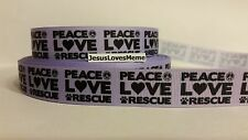 """Grosgrain Ribbon, Peace Love Rescue on Lavender, Peace Sign Paw Print Heart 7/8"""""""