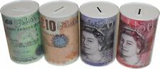 New Prima £5 £10 £20 £50 Pound Note Design Kids Piggy Money Box Tin Saving Cash