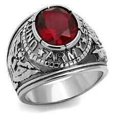 US Army Stainless Steel Ring United States USA Military Army Mens Siam Red CZ