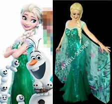 AJ919 FROZEN FEVER ELSA green dress full set cape & dress spring costume cosplay