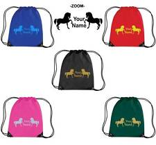 PERSONALISED PRINTED DRAWSTRING GYM/SHOE BAG WITH HORSE DESIGN - school pony HO8