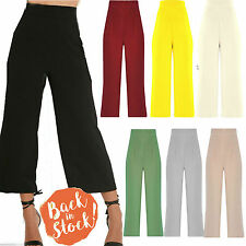 NEW WOMENS LADIES  CULOTTES HIGH WAISTED SUMMER CASUAL TROUSER GIRLS WIDE LEG