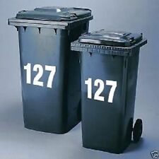 3 x Wheelie Bin Numbers Stickers Self Adhesive Stick On. Available  colours , 4""