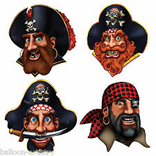 4 Assorted Pirate Ship Crew Faces Party Cutout Door Wall Sign Decorations