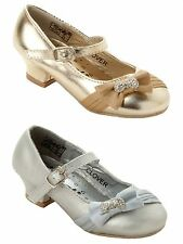 GIRLS DIAMANTE BOW LOW HEEL BRIDESMAID WEDDING PARTY SANDALS SHOES UK SIZE 10-3
