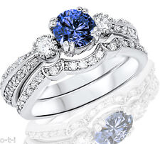 Brilliant Round Blue Sapphire with Clear CZ Genuine Silver Engagement Ring Set