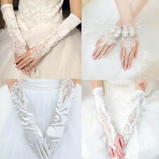 New Crystal Lace Bridal Glove Wedding Party Prom Long Gloves Fingerless Pageant