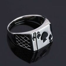 Hot Fashion Mens Womens Silver Ace of Spades Casino Poker Card Ring
