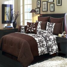 Elegant 8pc Brown and White Floral Bliss Luxury Comforter Bedding Set