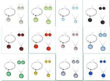 1 Set Crystal Birthstone Dangle Pendant Charm Necklace Bracelet Earring Jewelry