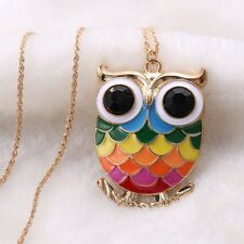 Beautiful Alloy Gold Plated Colorful Owl Pendant Long Chain Necklace Family Gift
