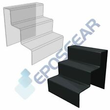 3 Step Tier Large Clear Black Acrylic Perspex Retail Counter Display Riser Stand