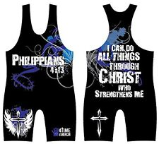 PHILIPPIANS 4:13  SUBLIMATED WRESTLING SINGLET YOUTH OR ADULT - ALL SIZES
