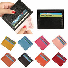 Mens Women's Small Real Leather ID Credit Card Wallets Holder Slim Pocket Case