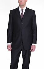 Mens Classic Fit Solid Black Three Button Wool Silk Blend Suit