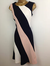 M&S Pink Navy Striped Skater Evening Dress Womens Summer Party Prom Size 8