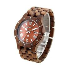 Bewell 109A Men Women Casual Wooden Watch Red Sandal Wood Roman Numerals Round