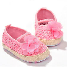 Baby Girl Flower Crocheted Crib Shoes Anti-slip Toddler Newborn Shoes AUFT