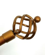 TWO-ADJUSTABLE METAL CURTAIN RODS WITH SPIRAL GLOBE FINIALS- VIVIAN- GOLD