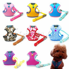 Cat Pet Dog Puppy Soft Mesh Fabric Adjustable Harness Lead Leash with Clip NEW