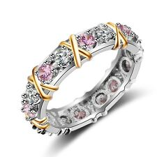 Fashion Women 3mm Pink sapphire Cz White&Yellow Gold Filled Wedding Band Ring