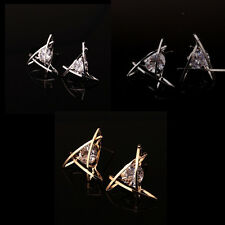 Triangle Elegant Hot Women Rhinestone Crystal Stud Lovely Square Earrings Ear