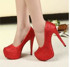 Womens Stilettos High Heel Sexy Red Hot Diamante Wedding Party Shoes Size7,8,9