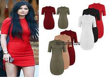 New Womens Ladies High Low Polo Neck mini bodycon fitted Shirt Dress UK