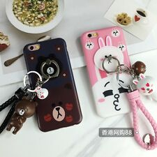 Fashion Brown Bear Bunny Rabbit Keychain Holder Soft Case For iPhone 6 6s 6sPlus