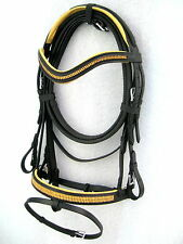 """NEW""Dressage leather bridle gold diamonte comfort poll f noseband black"