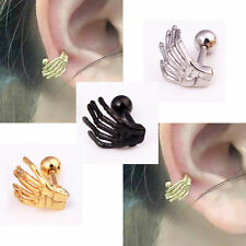 Fashion Women Stainless Steel Punk Gothic Skull Hand Helix Stud Earrings Jewelry