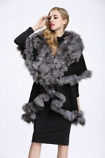Women 100% Knitted Poncho Cashmere Cape Fashion Real Fox Fur collar Coat P0010
