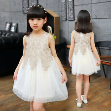 Baby Girls  Kids Summer Princess Dress skirt Lace Applique vest sleeveless dress