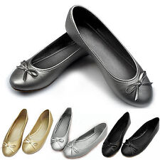 Women's Bow Flat Designer Dolly Slip On Shoes Ballet Ballerina Work Pumps Flats