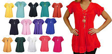 Ladies Frill Gypsy Womens Necklace Tunic Short Sleeve V Neck Plus Size Tops