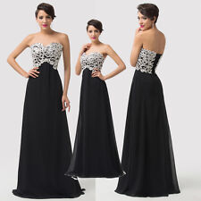Strapless Black Prom Gown Evening Party Ball Gown Bridesmaid Dress Size UK 6-20