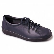 CLEARANCE Padders GALAXY Ladies Womens Leather Lace-Up Wide Shoes Navy | RRP £65