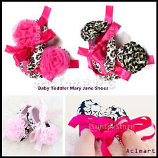 0-18M Infant Baby Toddler Girls Flower Mary Jane Shoes Soft Non-slip Prewalker