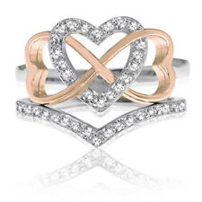 18k Rose Gold Triple Heart Infinity Celtic CZ Wedding Engagement Silver Ring Set